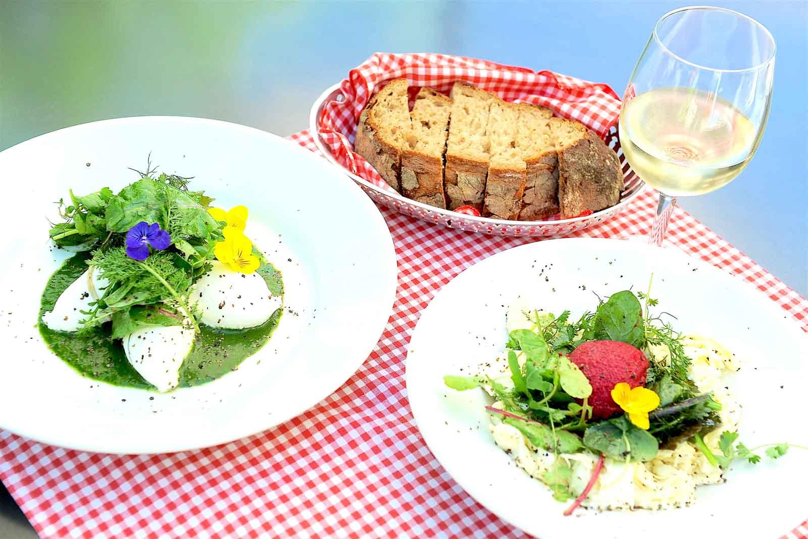 """Die beiden Vorspeisen: Links """"Ziegenkäsemousse auf grüner Wiese», rechts «Randenmousse mit Mozzarella und Meeretich-Heu»."""