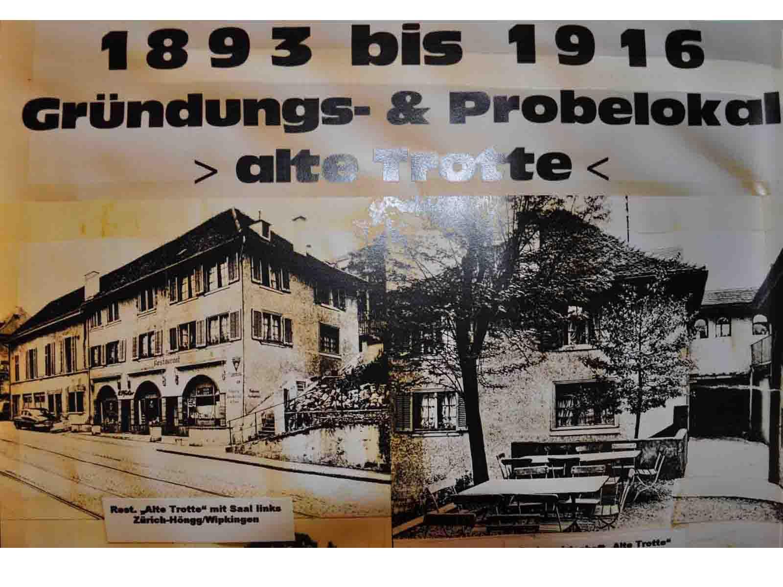 Bis 1916 probte der Dramatische Verein Höngg im Restaurant «Alte Trotte»