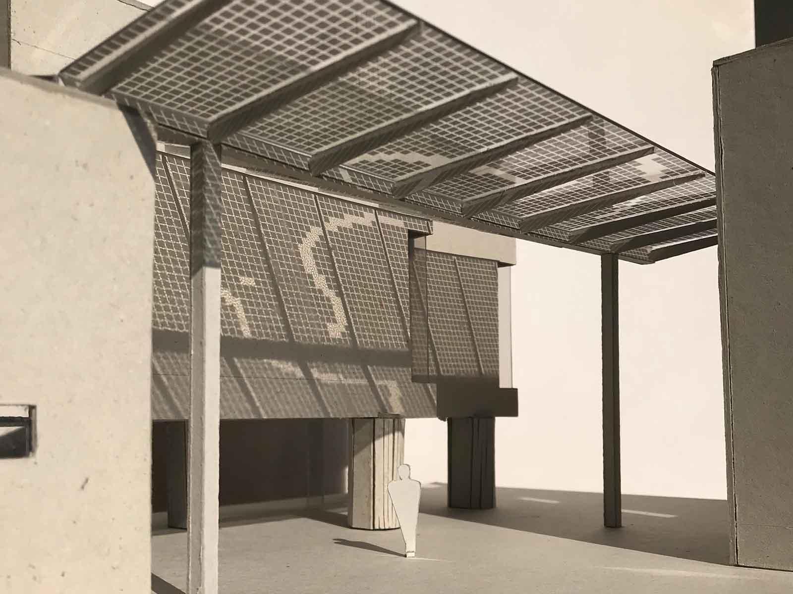 Modellfoto des geplanten Glasdachs mit Photovoltaik-Anlage.