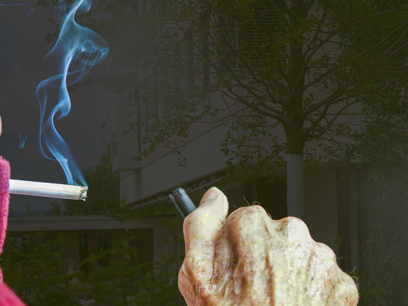 Eine Zigarette am Lebensende noch selbst anzünden.