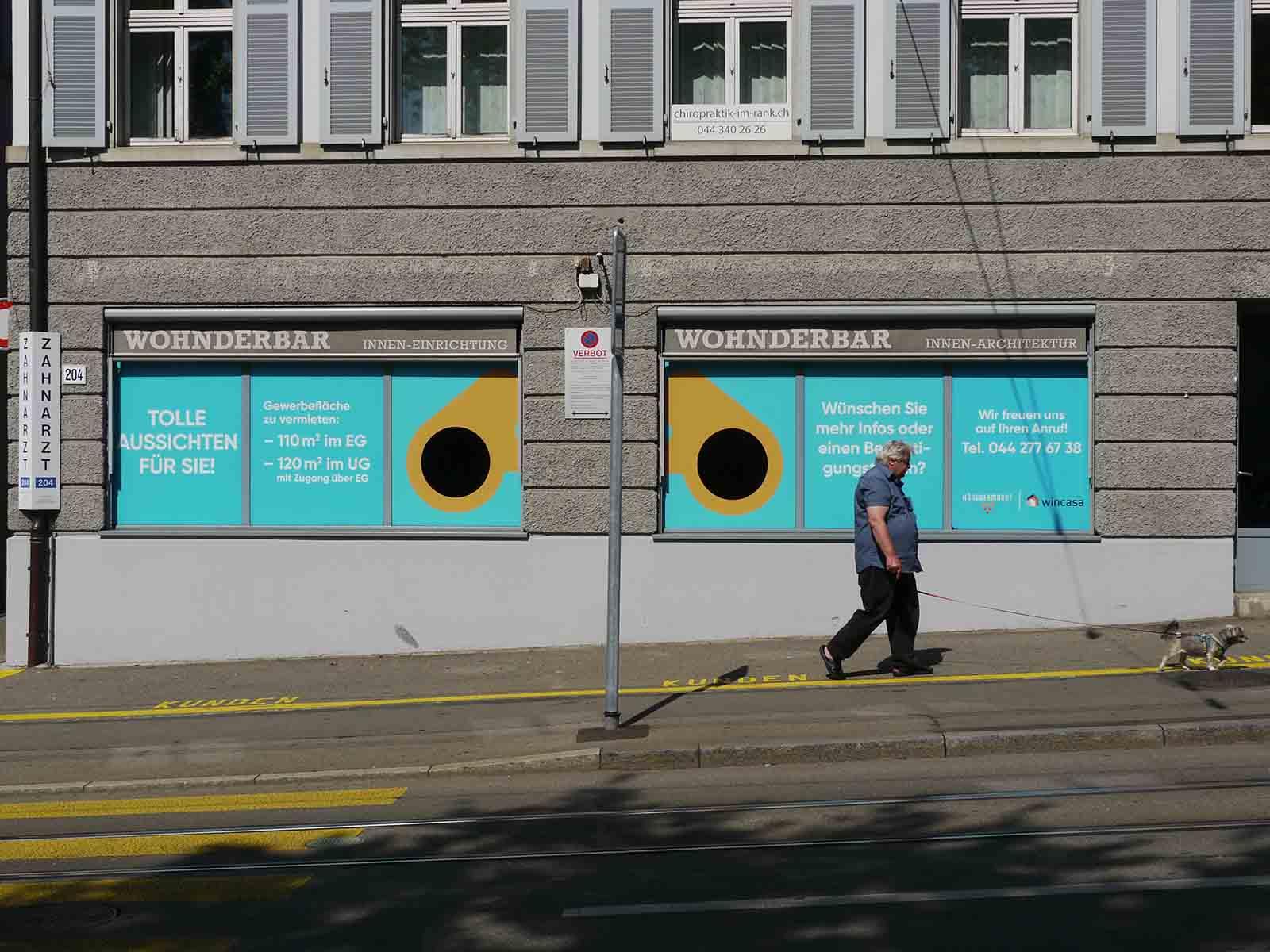 Leere Läden sind zum Vorbeigehen: Mieter gesucht an der Limmattalstrasse 204.