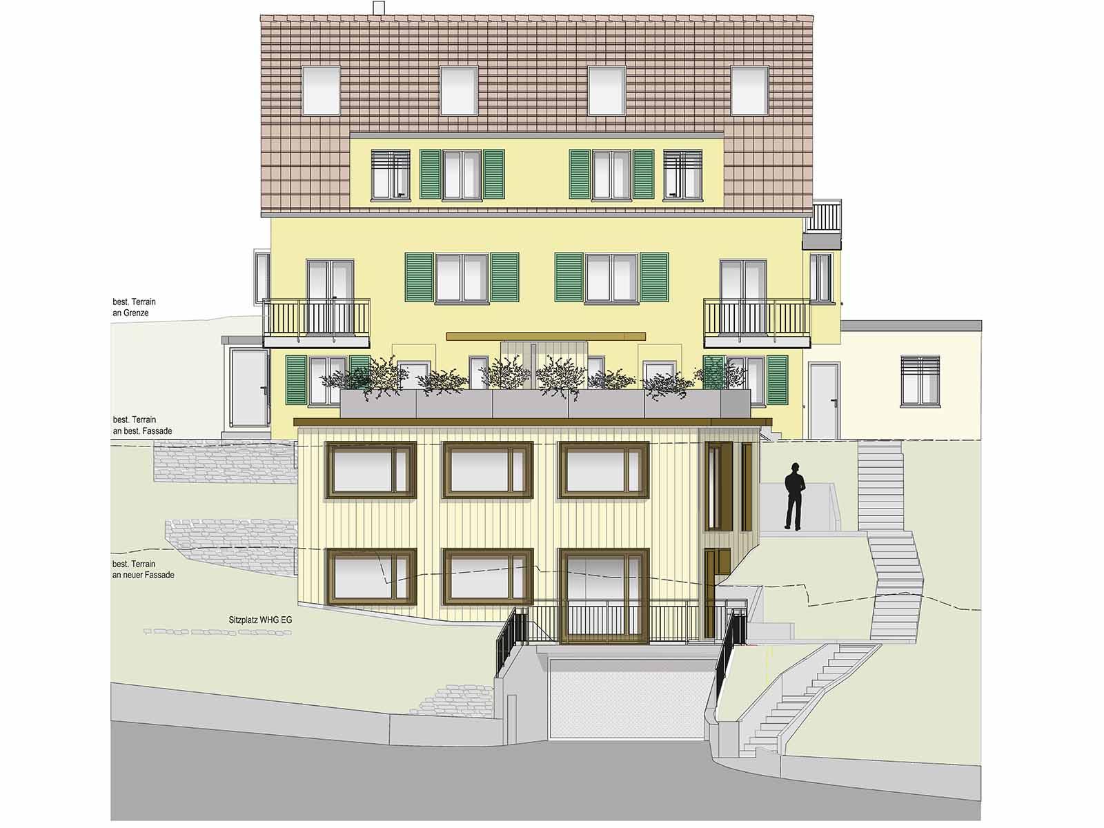 Fassadenansicht Neubau Bäulistrasse 6c.