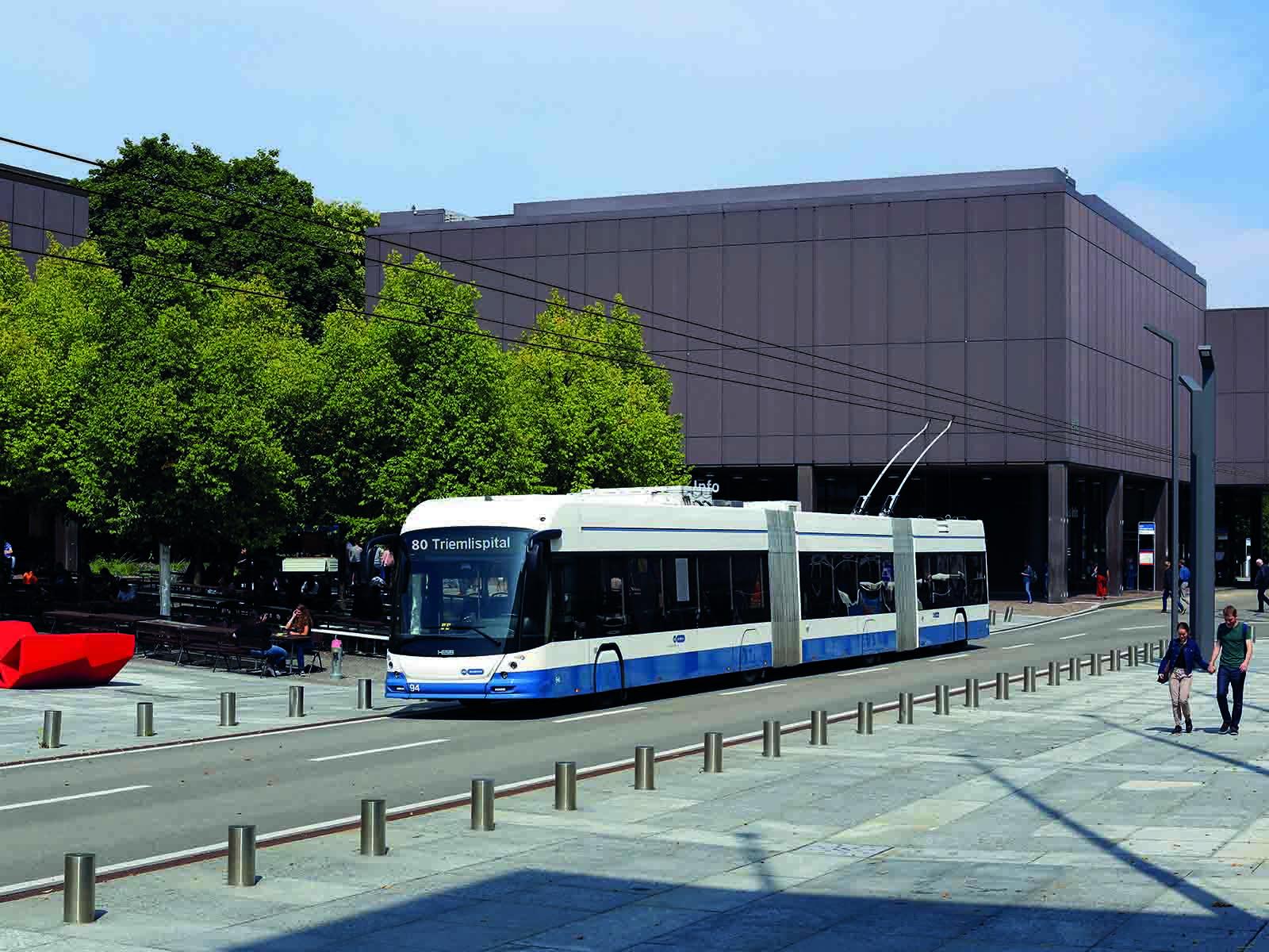 Visualisierung eines Doppelgelenktrolleybusses auf der Linie 80