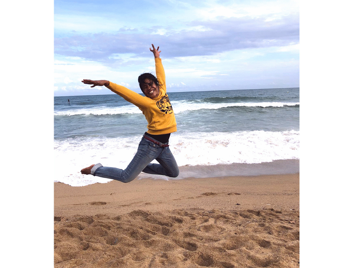Suprihatin Tukiyati fühlt sich am Strand eindeutig wohler als im Schnee.
