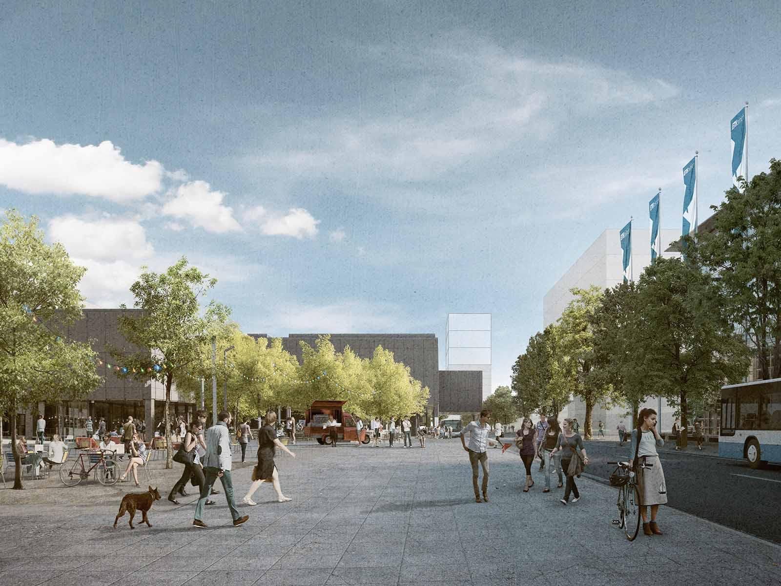 Die Vision 2040 beinhaltet die Umgestaltung der Wolfgang Pauli-Strasse zu einem breiten Boulevard für Fussgänger mit neugestalteten Gärten und Parks. Die geplanten Hochbauten liegen ebenfalls an dieser Strasse.